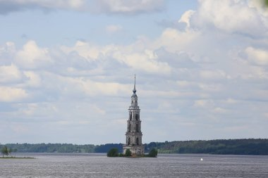 Kalyazin church / panoramic view Orthodox church on the island, russian landscape