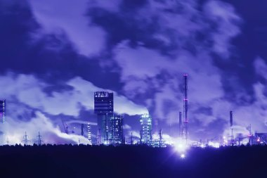 night smoke from pipes, factory landscape