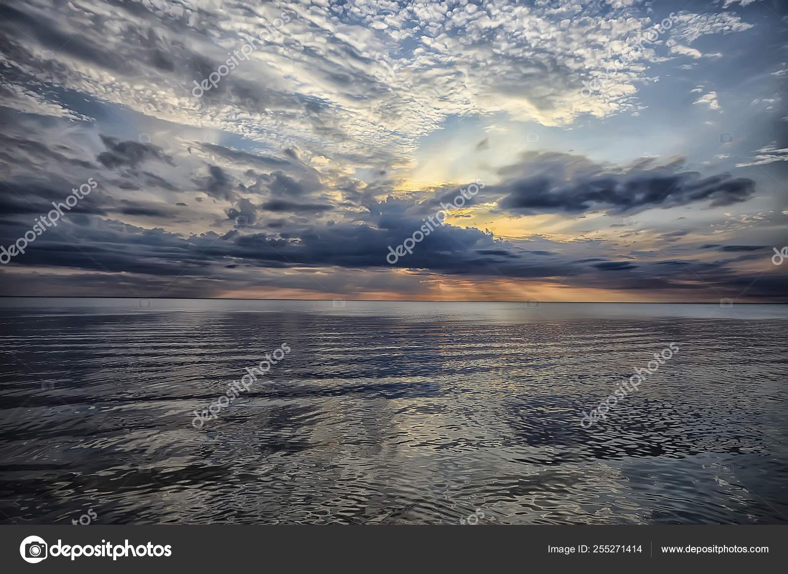 Sky Water Texture Background Horizon Sky Clouds Lake Stock Photo C Xload 255271414