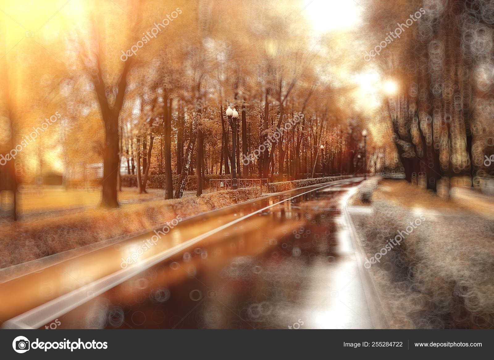 foto de Fond Flou Abstrait Parc Automne Beau Paysage Avec Des Reflets ...