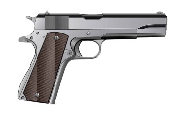 Colt 1911 pistol isolated on white vector