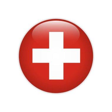 Switzerland flag on button