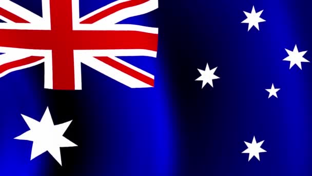 Australian flag Closeup 1080p Full HD 1920X1080 footage video waving in wind