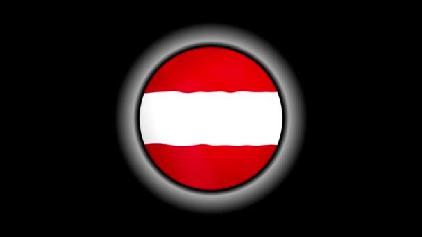 Tlačítko rakouské vlajky izolované na černém