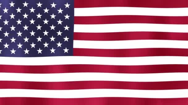 Amerikai Egyesült Államok zászló Motion videó integetett a szél. Zászló closeup 1080p Full HD 1920x1080 hosszúság