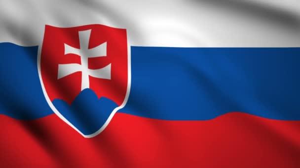 Slovensko zaostává pohyb videa ve větru. Vlajka closeup 1080p HD záběr