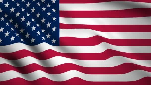 Amerikai Egyesült Államok zászló Mozgókép integetett a szélben. Zászló közelkép 1080p Hd felvétel
