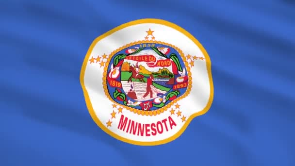 Minnesota USA flag waving in the wind