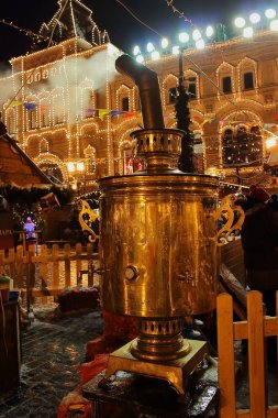 MOSCOW, RUSSIA - December 8, 2017: A huge samovar