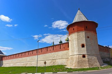 Tavern Corner Tower and Kremlin wall in Zaraysk town. Cultural heritage of the Middle Ages (16th century) in the Moscow region, Russia