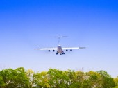 Photo Small plane landing on airport. Propeller plane flies against a blue sky with white clouds and green trees