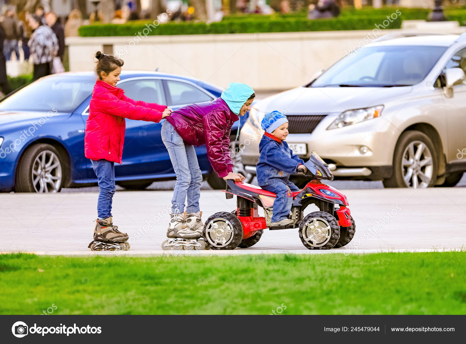 City Park Funny Boy Rides Toy Electric Car His Two Stock Photo C Kravik93 245479044