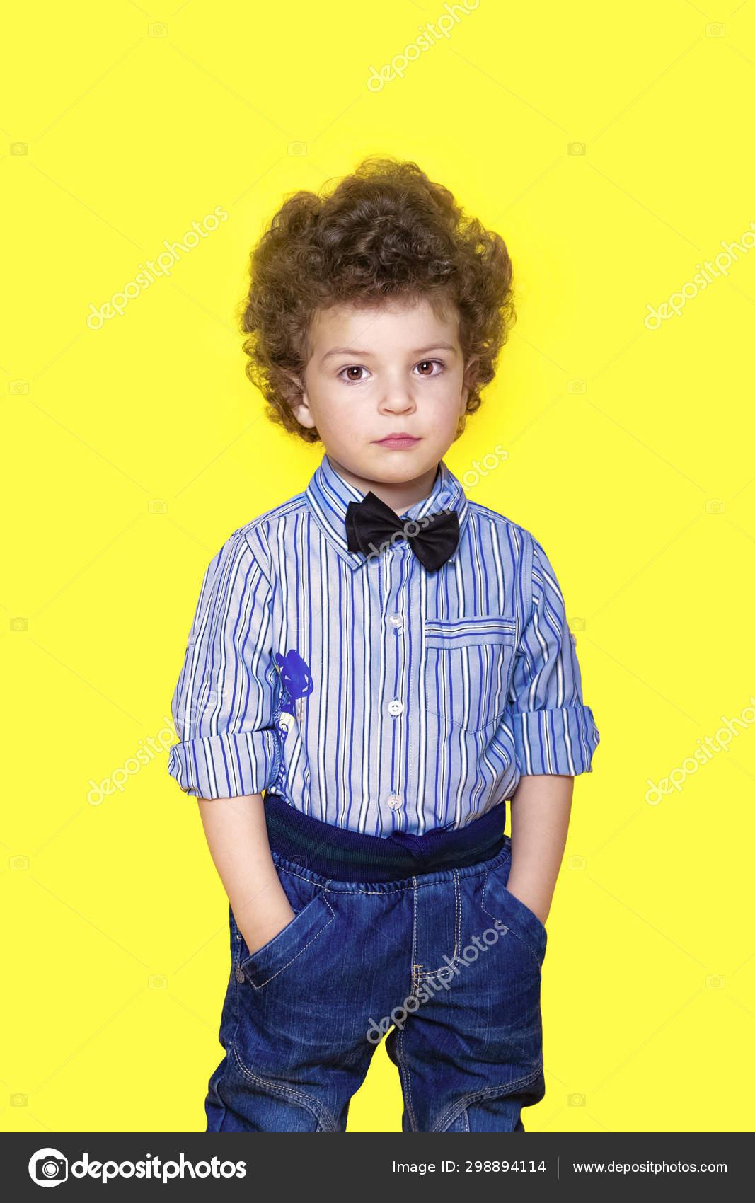 Kid Portrait Curly Hair Studio Portrait Confident Smiling