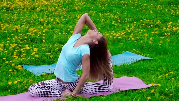 Usmívající se bruneta, která se táhne venku na trávě