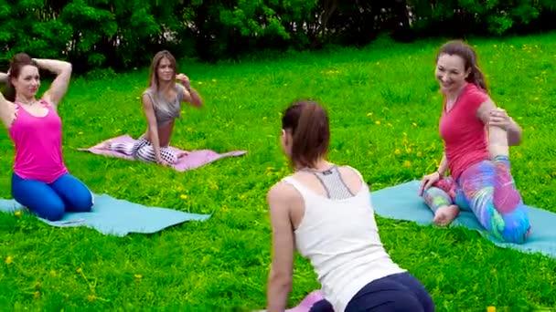 mladé ženy cvičení venku na trávě