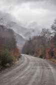 Dirt road and stormy clouds in Patagonia, Argentina