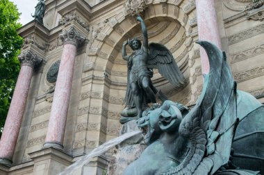 Winged lion, Fontaine Saint-Michel, Paris, France. Popular historical landmark