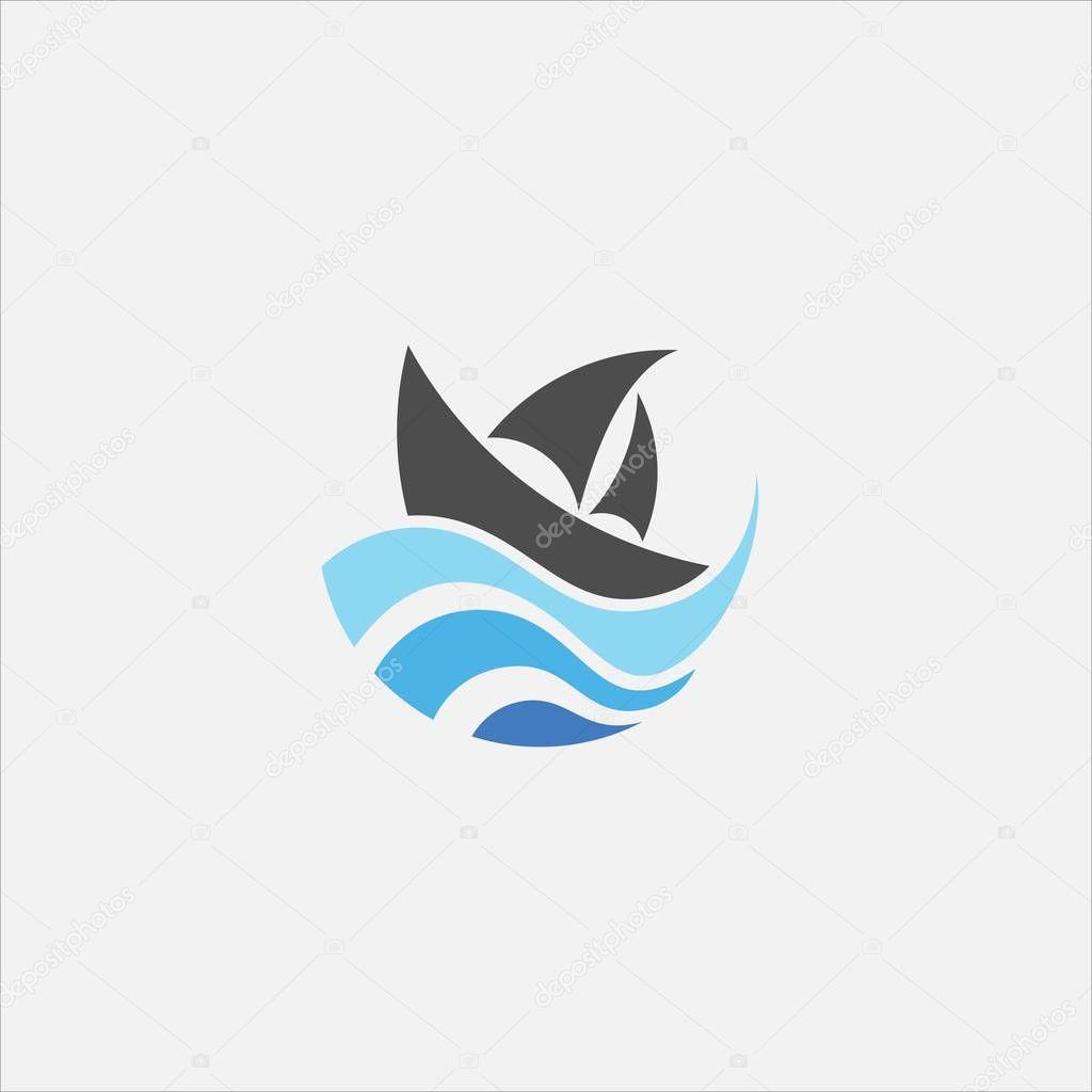 Wave ship circle vector