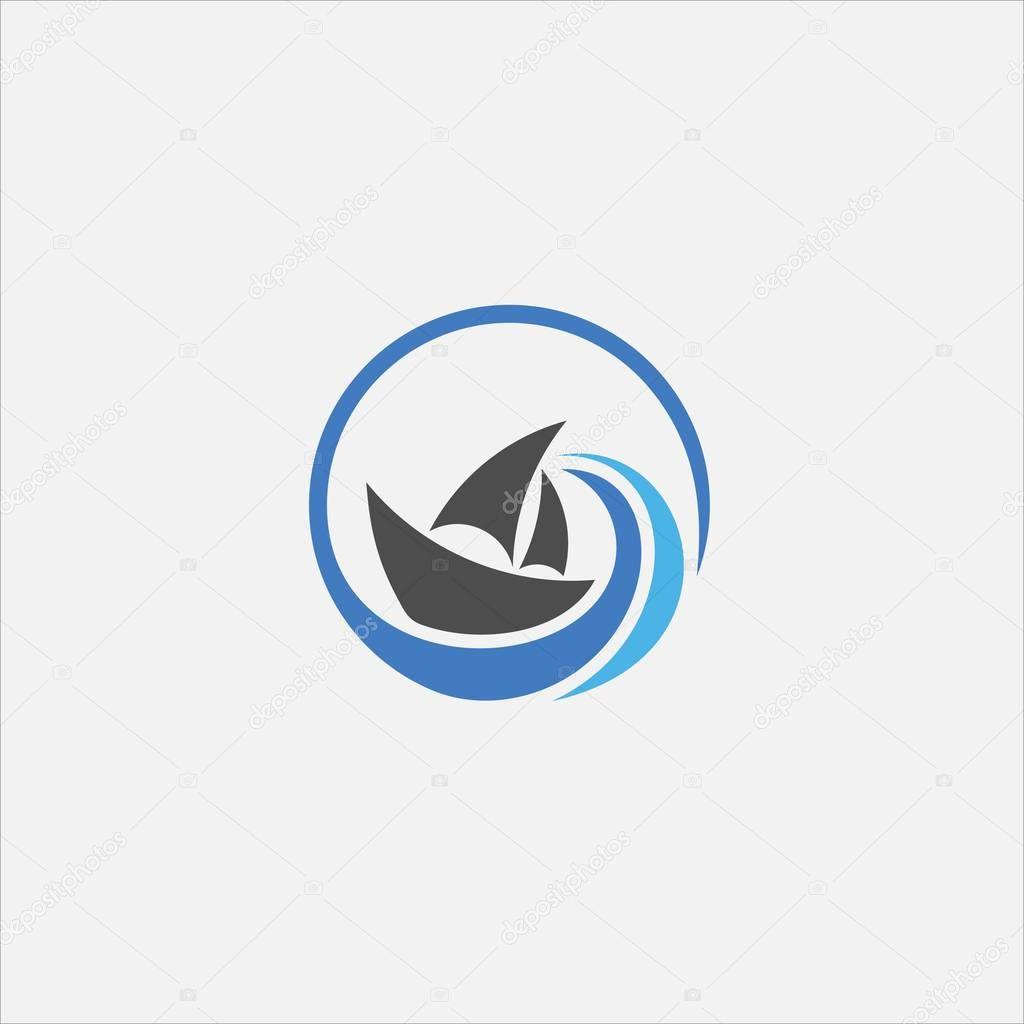 Circle ship vector logo