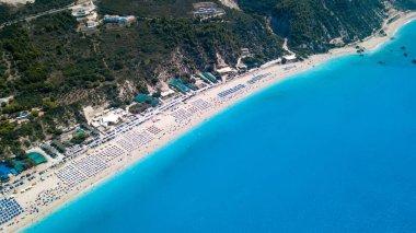 Beautiful drone shot of a gorgeou beach in greece Lefkada daytime