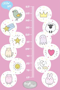 Kids height chart.Cute and funny animals,doodle vector illustration