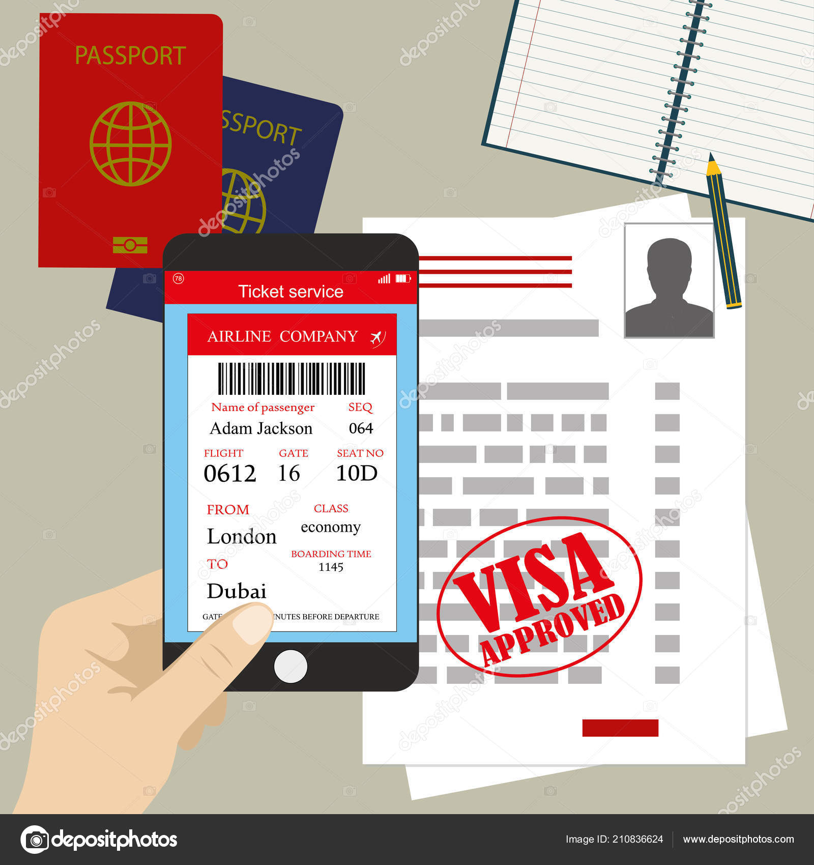 visa approved blank work permit passport smartphone boarding pass
