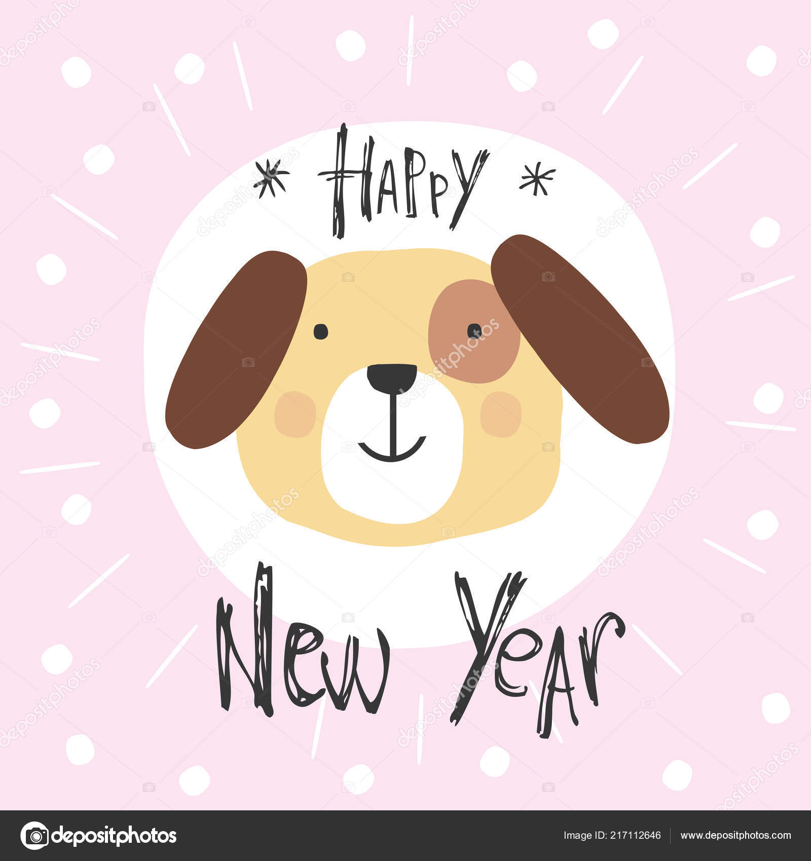 happy new year card dog symbol 2018 year cartoon vector stock vector