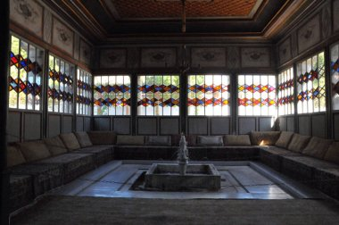 Crimea, Bakhchisarai city, Khan's palace, Bakhchisarai fountain, stained glass windows
