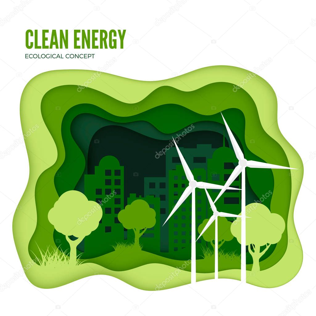 Green energy ecological concept. Green paper cut banner template. World Environment Day. Vector illustration isolated on white background
