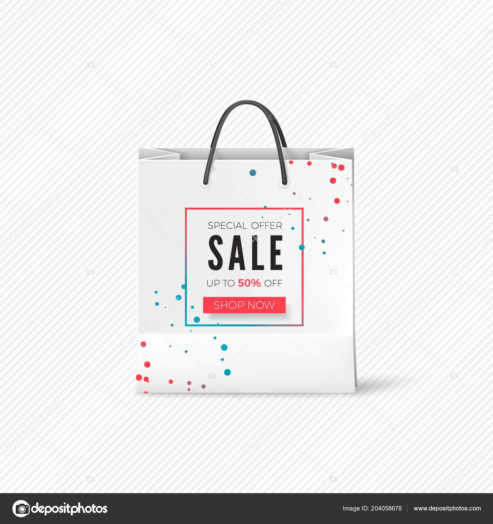 White Paper Bag Mit Verkauf Angebot Leeren Beutel Mit