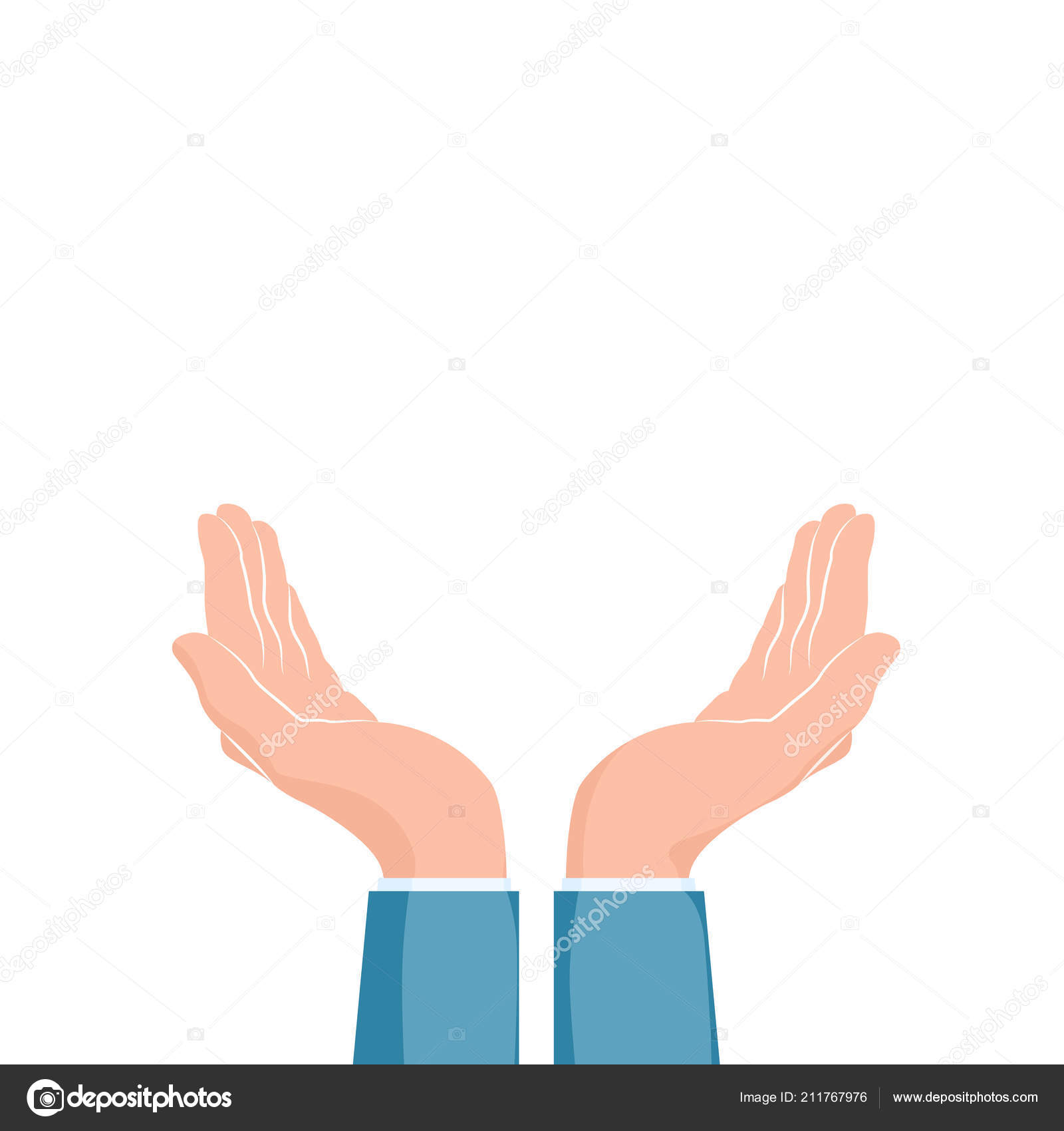 two cupped hands supporting hands vector illustration isolated white