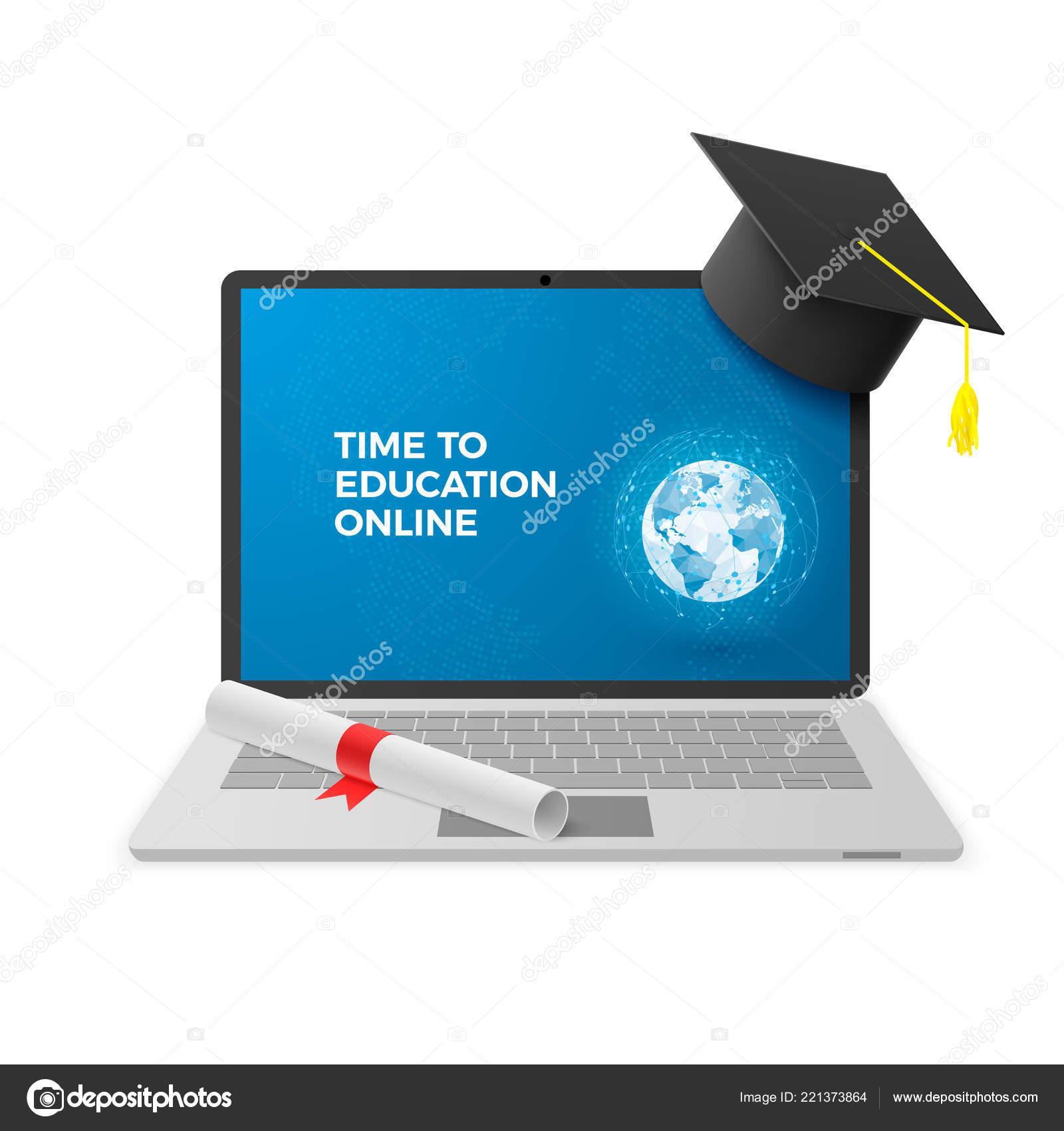 Education Online Concept Notebook Graduation Hat Diploma