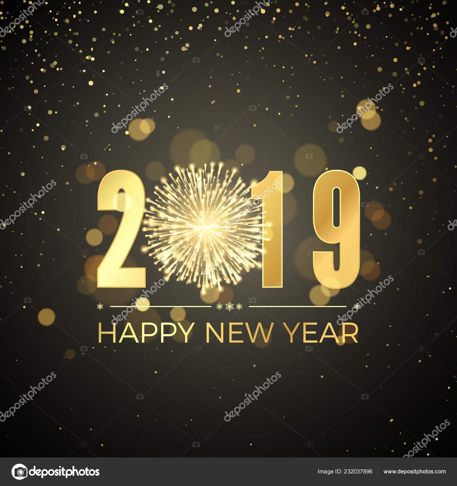 Feliz Ano Nuevo 2019 Nuevo Banner Anos Con Numeros Dorados Vector