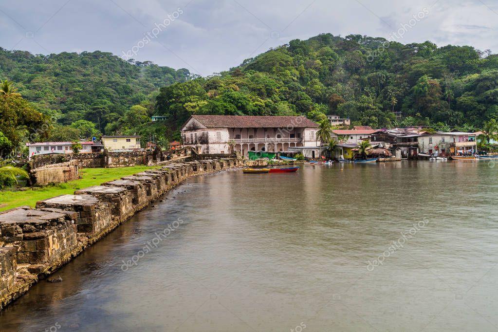Fuerte San Jeronimo fortress and Real Aduana customs house in Portobelo village, Panama