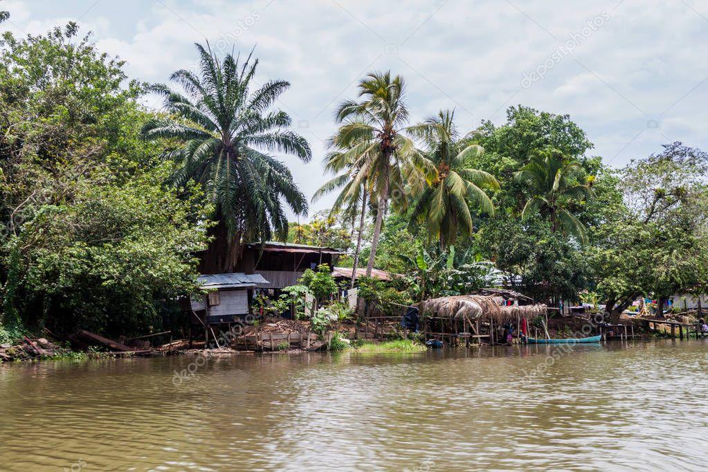 Huts in Boca de Sabalos village at San Juan river, Nicaragua