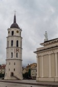 Belfry of Cathedral Basilica Of St. Stanislaus And St. Vladislav On Cathedral Square in Vilnius, Lithuania.