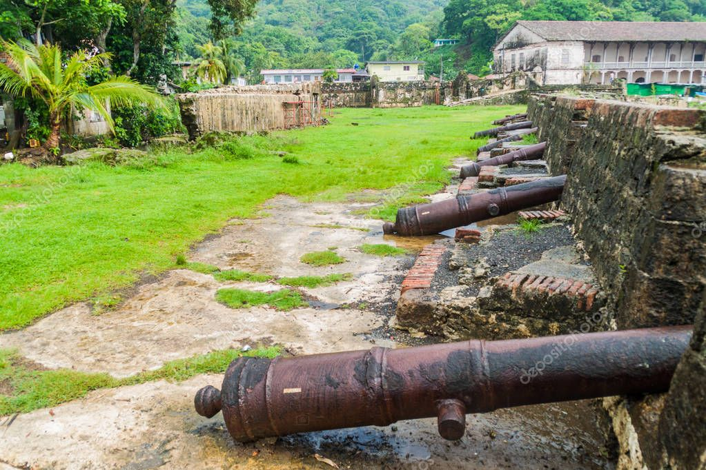 Cannons at Fuerte San Jeronimo fortress in Portobelo village, Panama