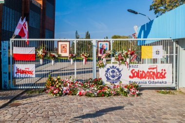 GDANSK, POLAND - SEPTEMBER 1, 2016: Gate Number Two of Gdansk Shipyard, place of 1980s strikes .