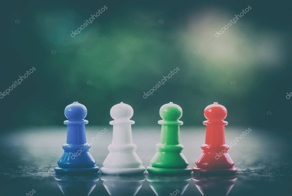 Chess pawn on dark tone background for teamwork and business strategy concept