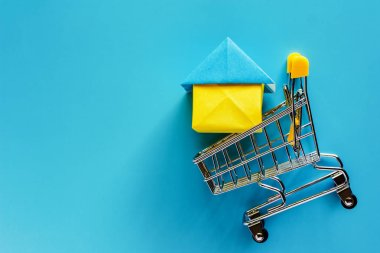 Paper house model in mini shopping cart or trolley on blue background for housing and property concept