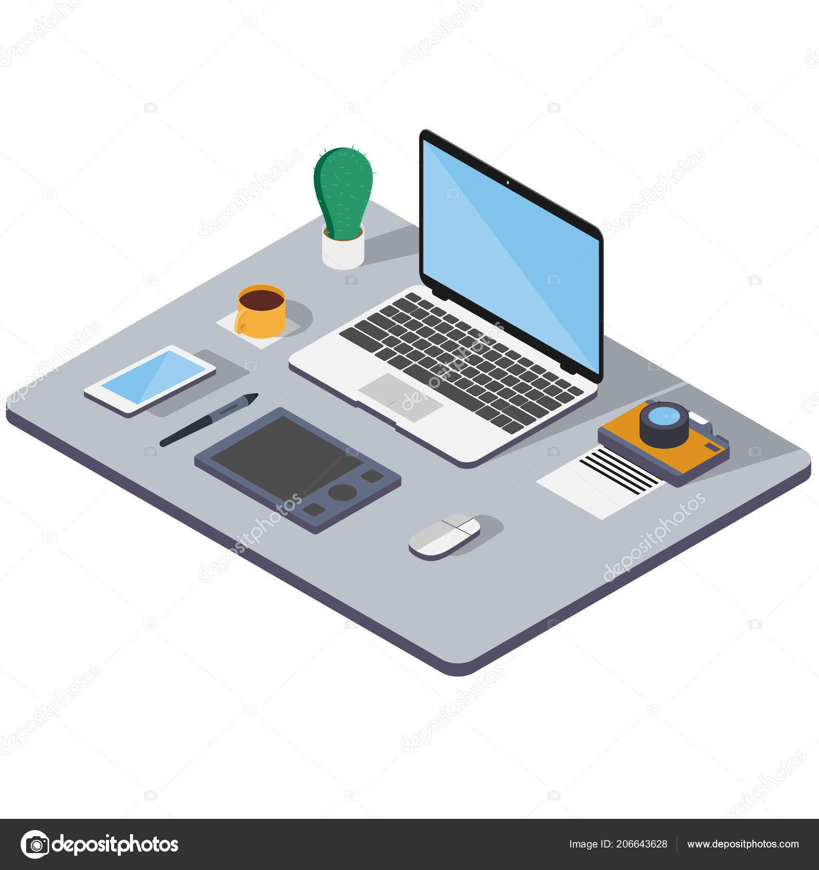 Workplace Office Web Designer Development Isometric Image Laptop Phone Graphics Stock Vector C Mirimage 206643628