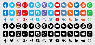 Set Social media logotype collection: Facebook, Instagram, Twitter, Youtube, Telegram, Google Plus, WhatsApp, Reddit, Vimeo, VK, Rss. Social media icons. - stock vector editorial stock vector