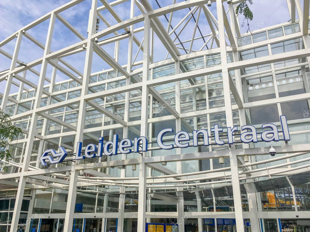 NETHERLANDS - LEIDEN - JULY 6, 2018: Exterior of the central station Leiden Centraal, CS in Leiden.