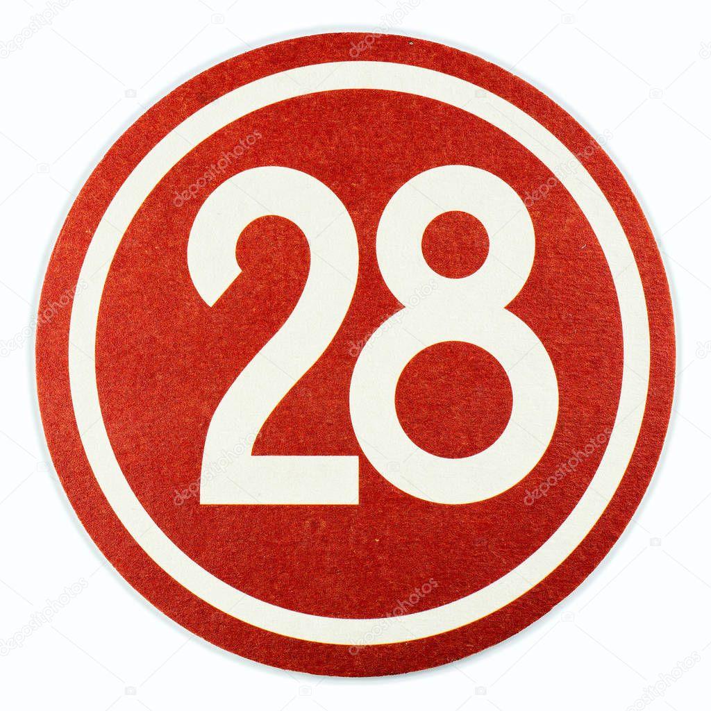 NETHERLANDS - LEIDSCHENDAM - MARCH 11, 2018: Beer mat with number 28.