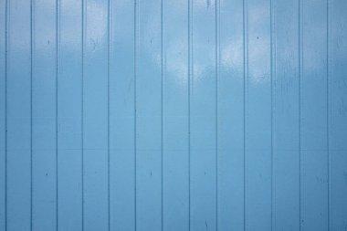 Blue painted shelves.