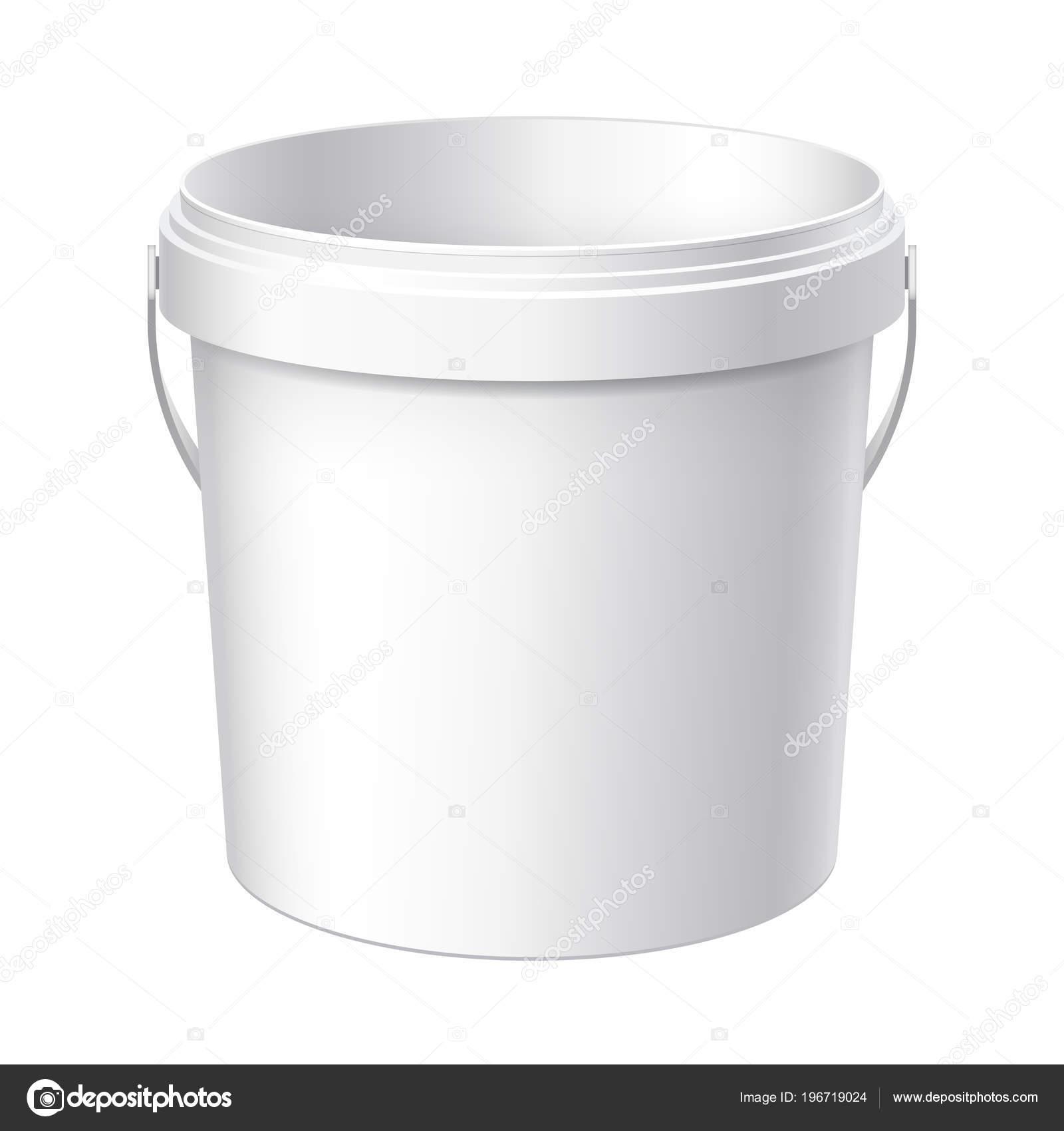 Underbar Liten Vit Plast Hink Förpackningar För Livsmedel Livsmedel Eller BR-84