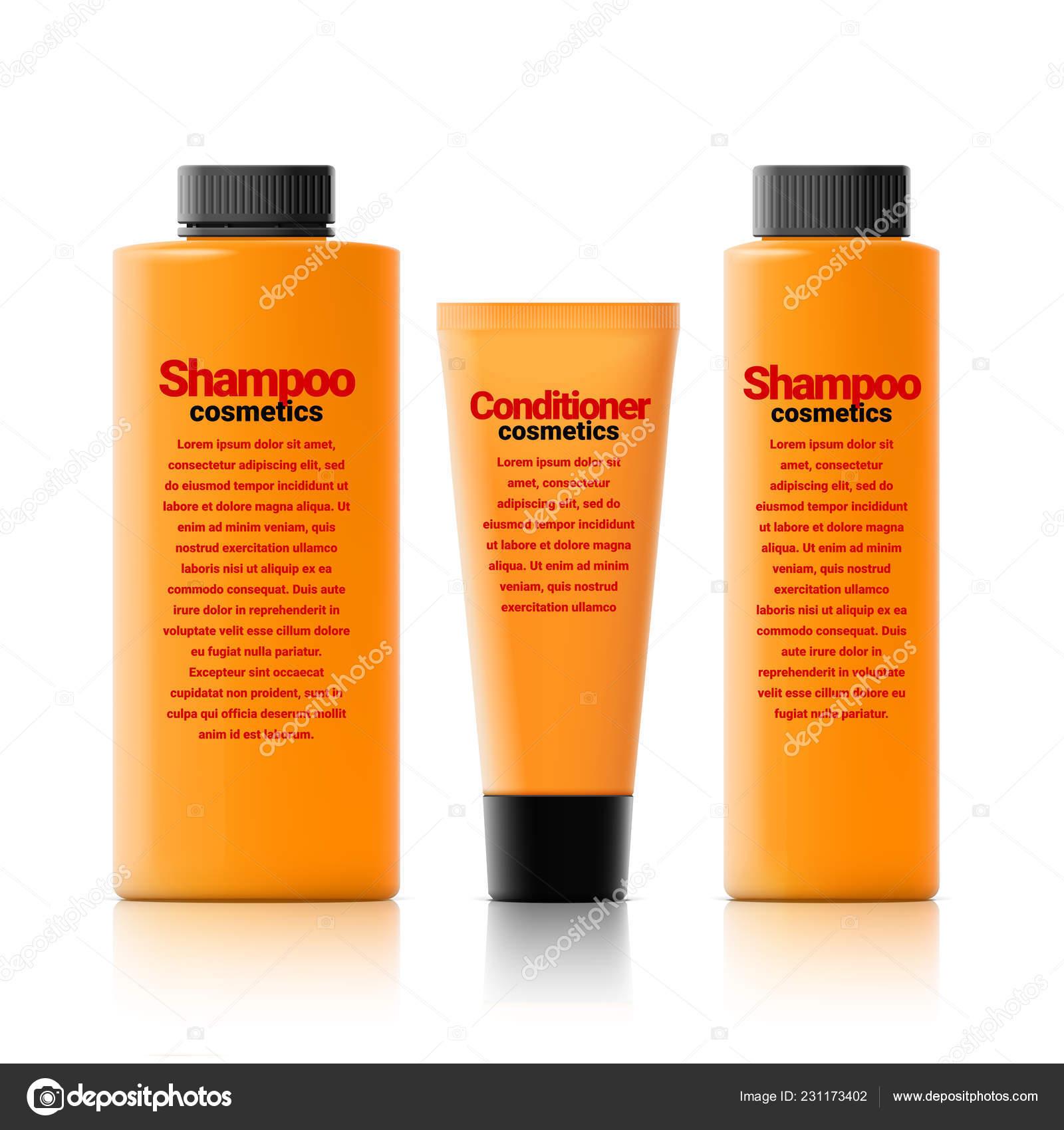 Set Realistic Cosmetic Orange Bottle Black Lid White
