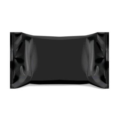 Realistic Black Blank template Packaging Foil for wet wipes. realistic foil package. Package for food. Template For Mock up Your Design. 3D illustration. Vector illustration