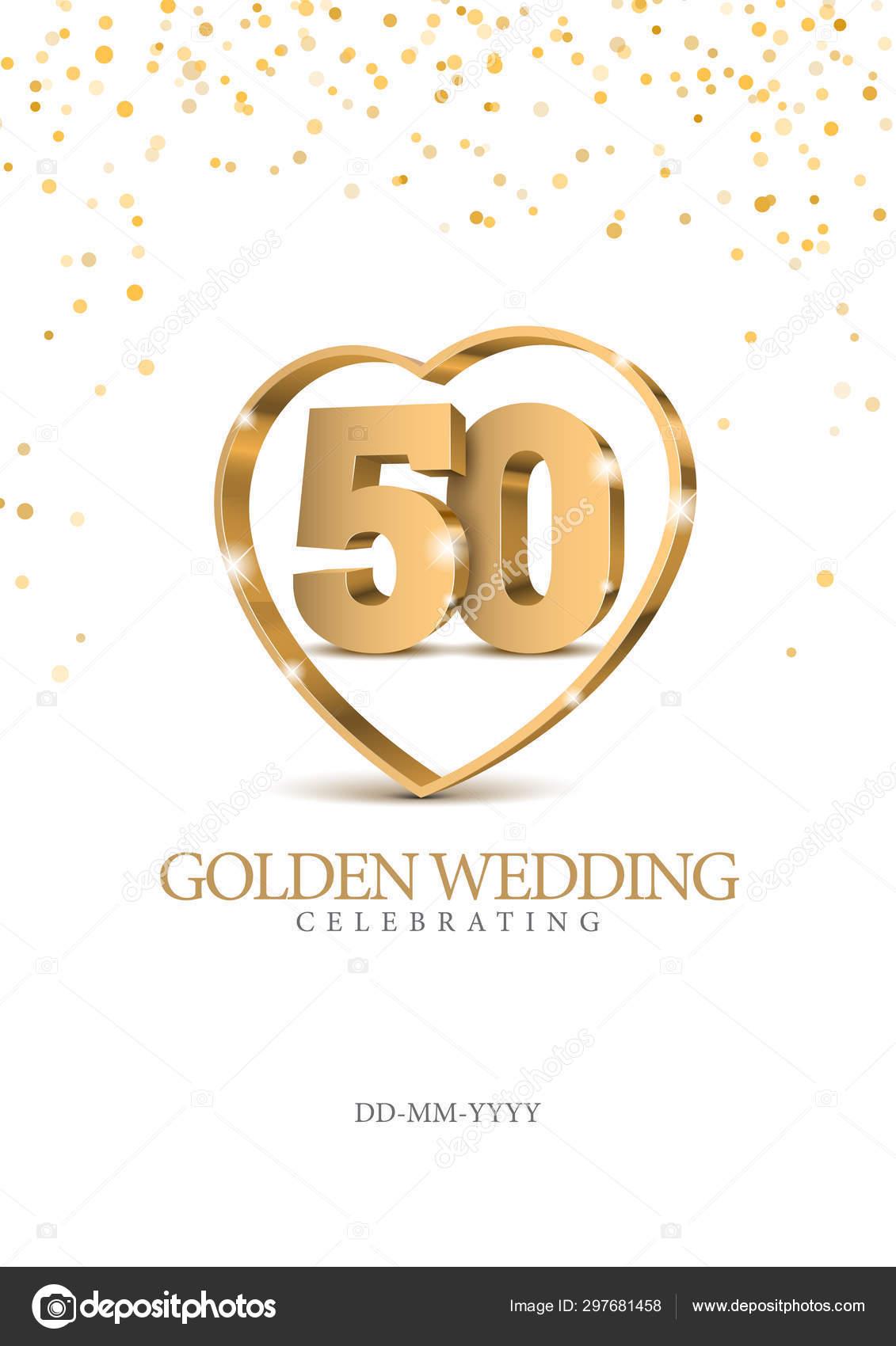 Jubiläum 50 Gold 3d Zahlen Stockvektor Sooolnce 297681458