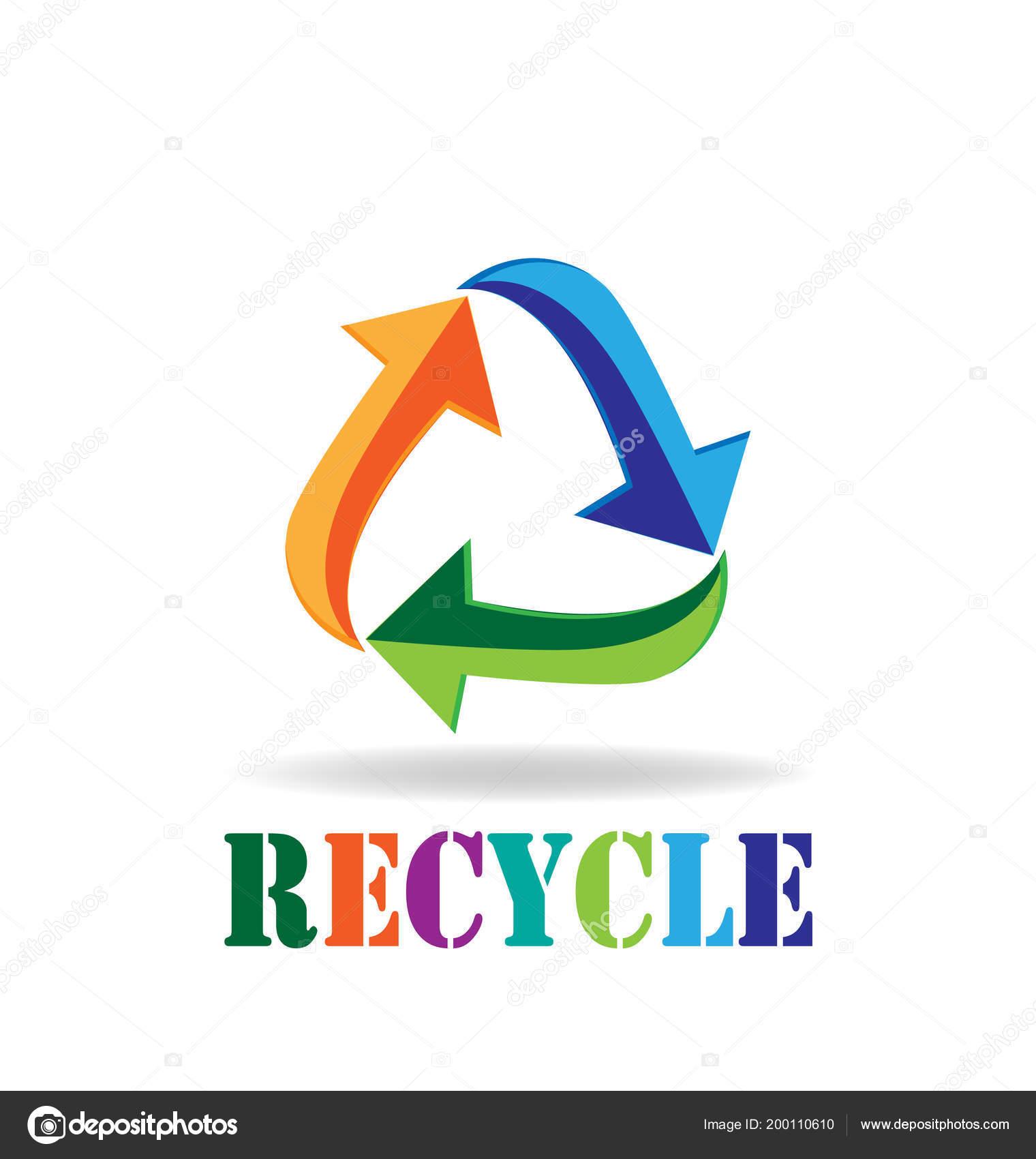 Logo Recycling Pfeile Visitenkarte Symbol Von Reduzieren